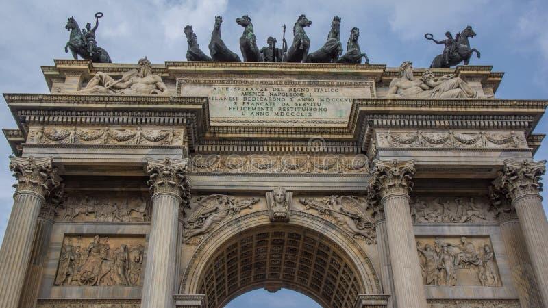 Sluit omhoog van boog van vrede in Milaan royalty-vrije stock afbeelding