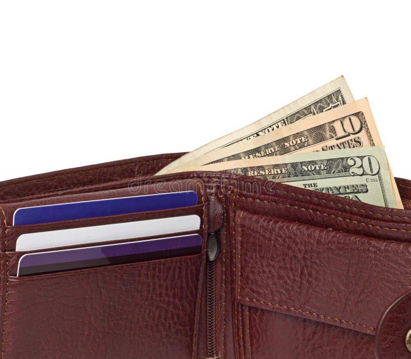 Sluit omhoog van bruine leerportefeuille met geld stock fotografie