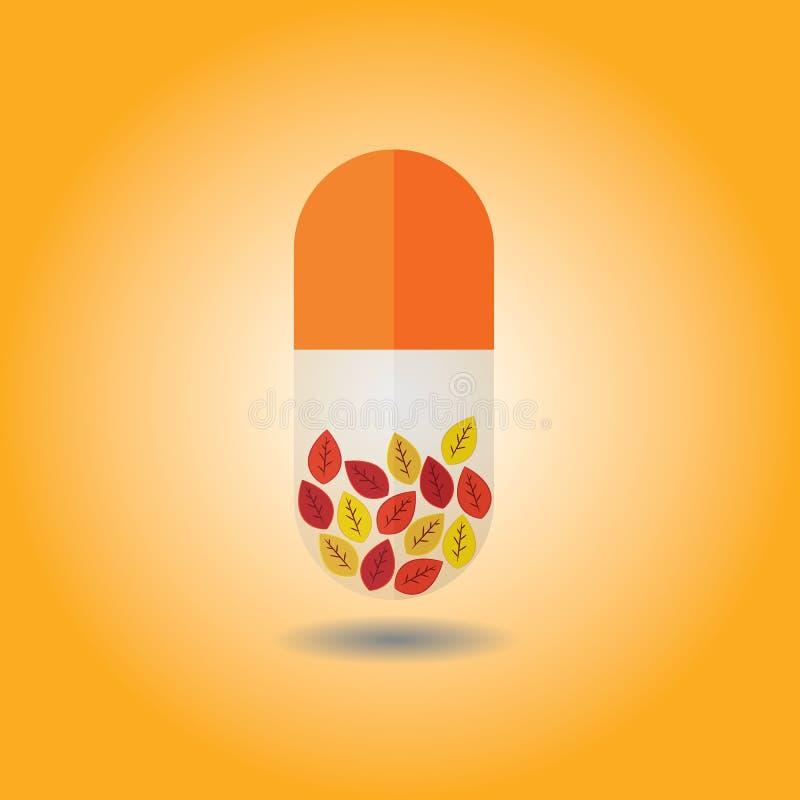 Sluit omhoog van de capsule van dalingsbladeren op oranje achtergrond royalty-vrije illustratie
