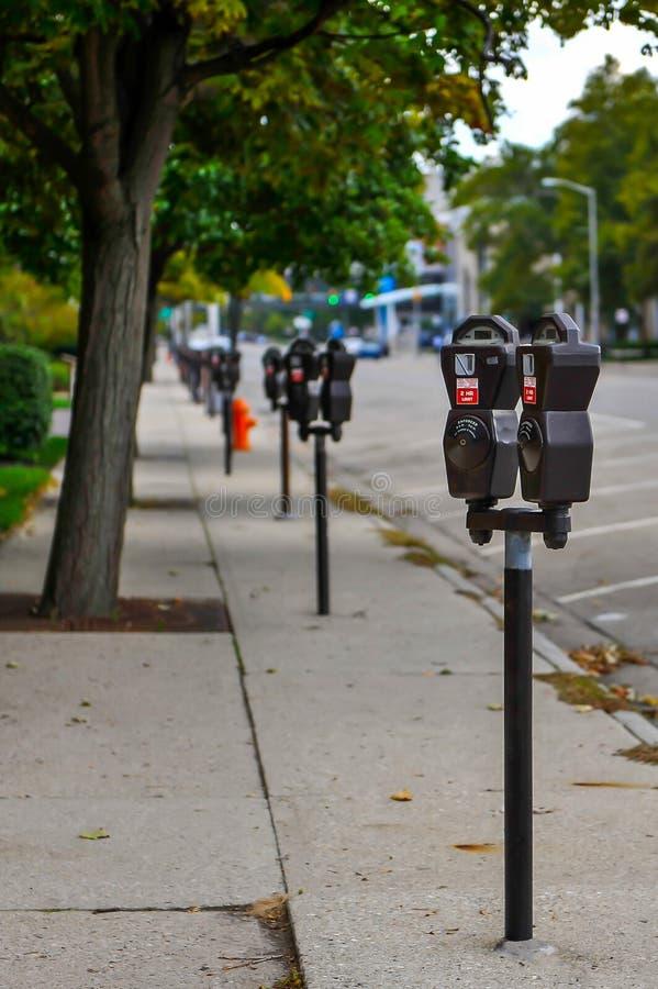 Sluit omhoog van de parkeermeters royalty-vrije stock afbeeldingen