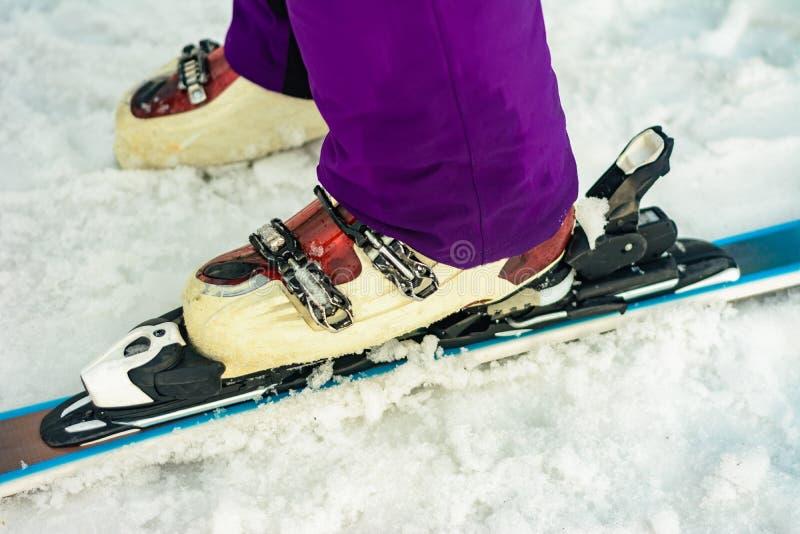 Sluit omhoog van de skiërskiër van de skiskiër op de kleur van het sneeuw wit-viooltje stock foto's