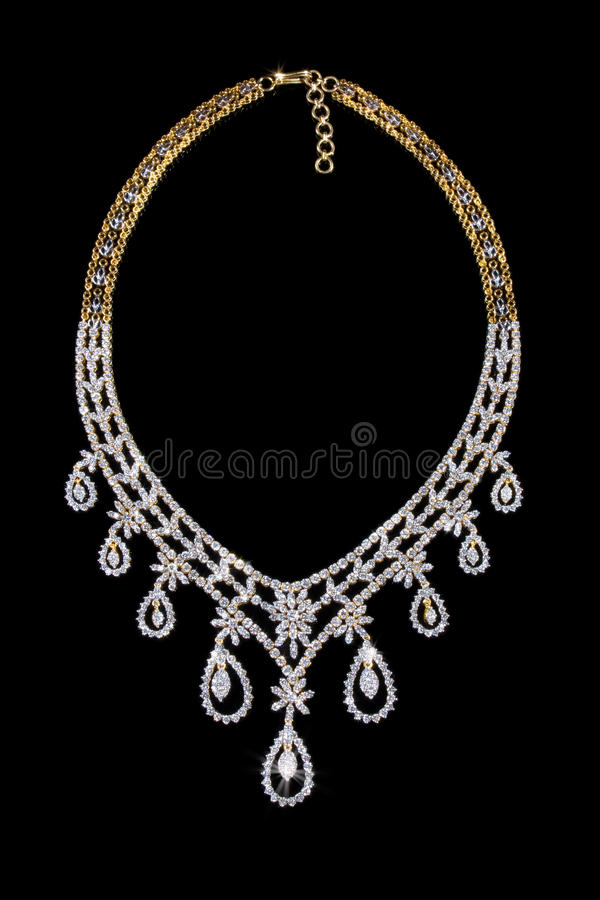 Sluit omhoog van diamanthalsband royalty-vrije stock afbeeldingen