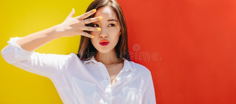 Sluit omhoog van een Aziatische vrouw royalty-vrije stock foto