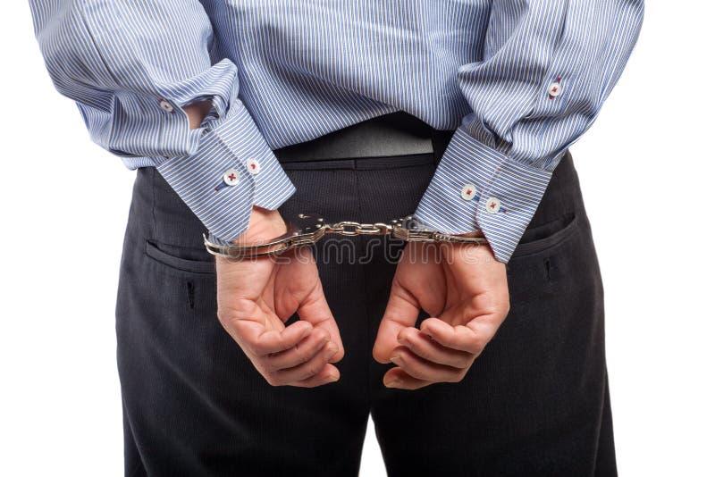 Sluit omhoog van een gearresteerde mens in handcuffs, geïsoleerd royalty-vrije stock fotografie