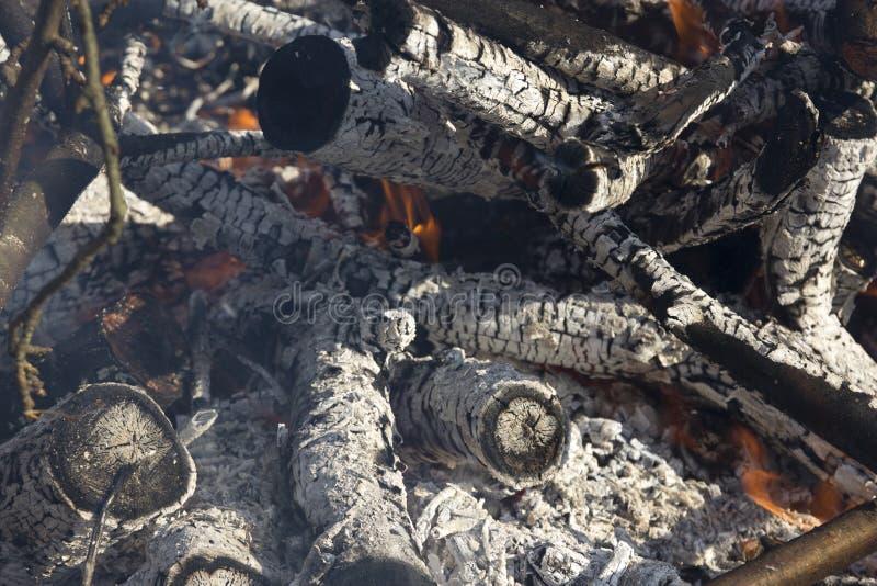 Sluit omhoog van een het sterven brand met vlammen en sintels royalty-vrije stock foto's
