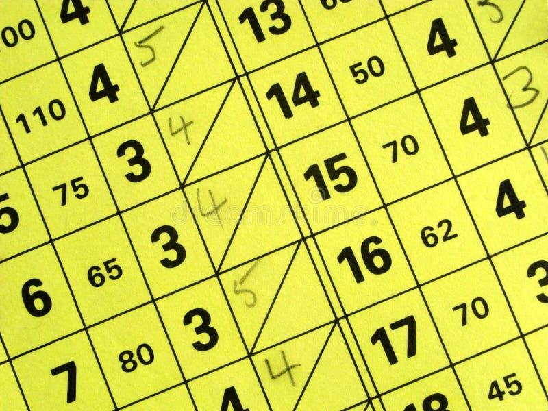 Sluit omhoog van een korte de scorekaart van de golfcursus. stock afbeeldingen