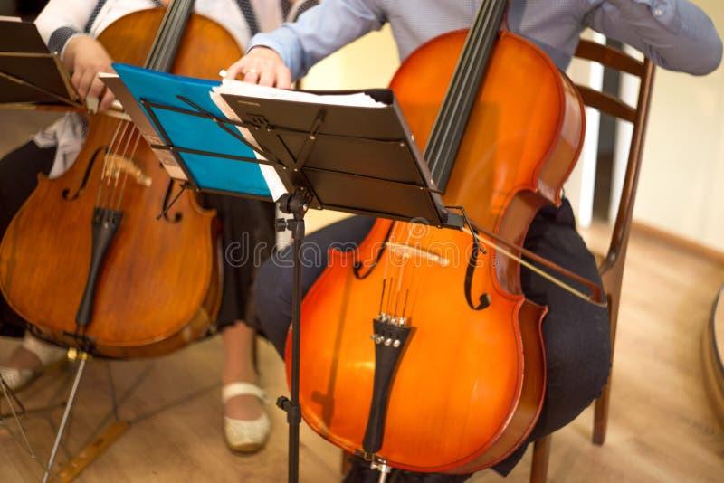 sluit omhoog van een man en een vrouw die de cello, een echt overleg spelen royalty-vrije stock fotografie