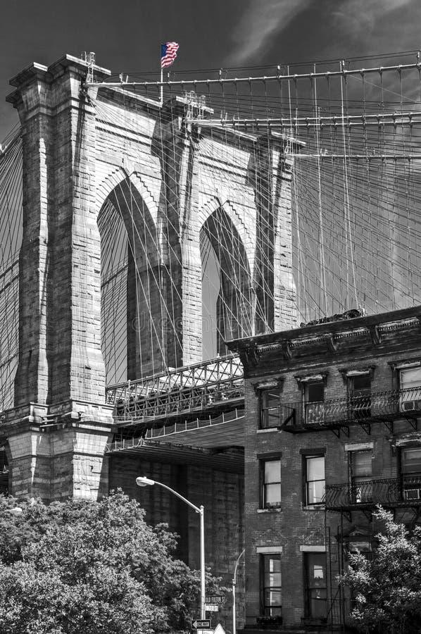 Sluit omhoog van een pijler van de brug van Brooklyn, de Stad de V.S. van New York royalty-vrije stock foto