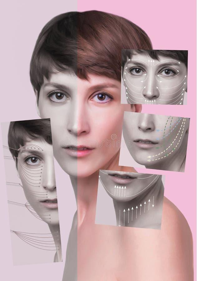 Sluit omhoog van een portret van een mooie vrouw die gezicht wil opheffen om rimpels en huidverjonging te verwijderen stock foto