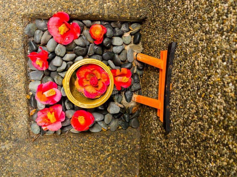 Sluit omhoog van een reeks van de de rode bloemen en steen van de cattleyaorchidee als oblatie over een gestenigde grond in Japan stock foto's