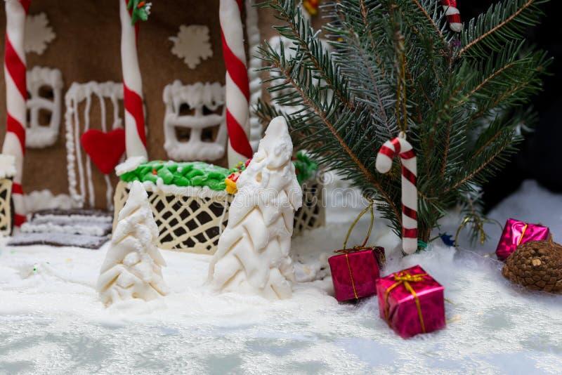 Sluit omhoog van een twijg van Kerstboom en van een suikermastiek bomen n stock afbeeldingen