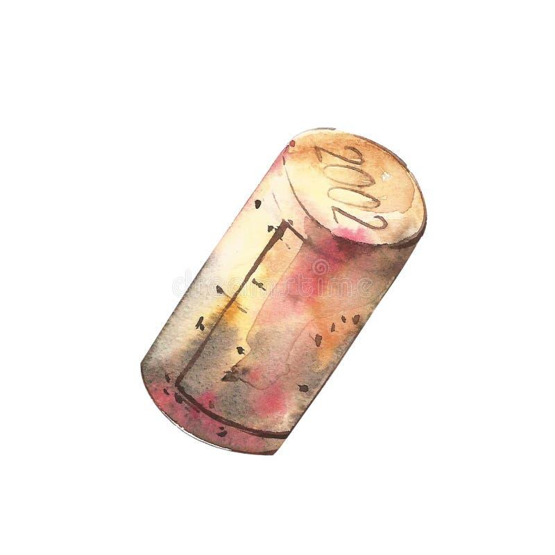 Sluit omhoog van een wijncork opener op witte achtergrond Hand getrokken waterverfillustratie vector illustratie