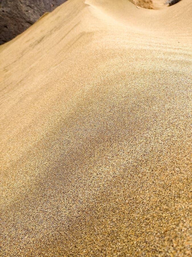 sluit omhoog van een zand gouden duin in de woestijn met miljoen korrels van zand in een zonnige dag met een zwarte steen bij de  royalty-vrije stock foto's