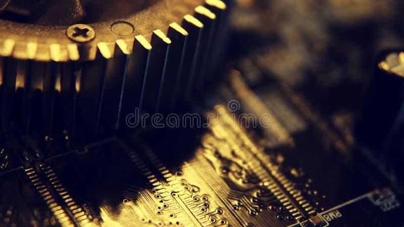 Sluit omhoog van Elektronische Kringen in Technologie op Mainboard, systeemkaart of mobo Computermotherboard, elektronische compo royalty-vrije stock foto's