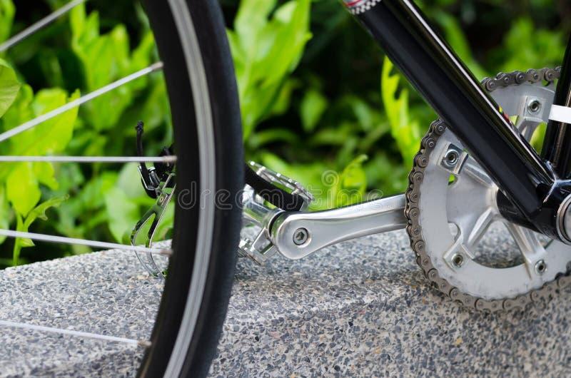 Sluit omhoog van fietspedaal stock afbeeldingen