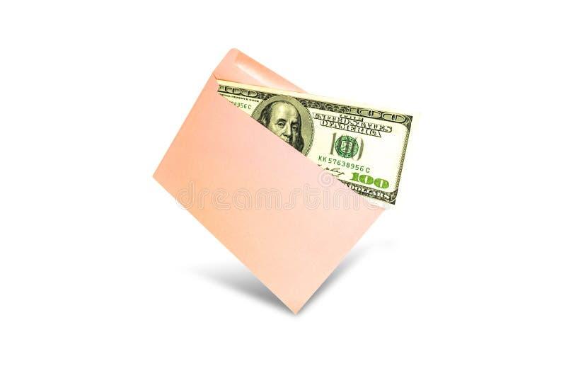 Sluit omhoog van geld in roze envelop liggen op de witte achtergrond Het brandmerken spot omhoog; vooraanzicht royalty-vrije stock afbeeldingen