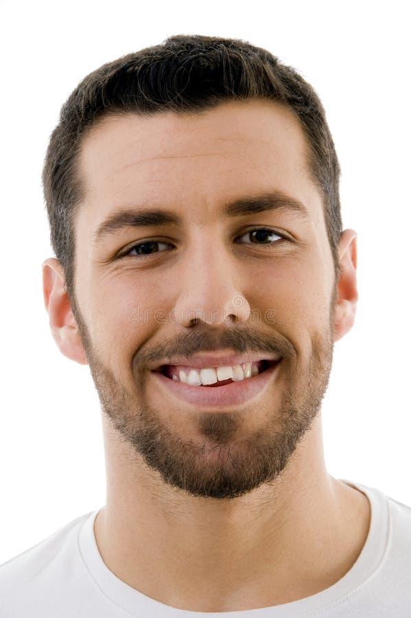 Sluit omhoog van glimlachend mannetje stock afbeeldingen