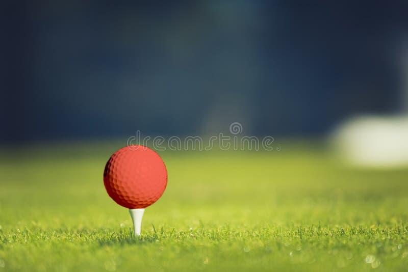 Sluit omhoog van golfbal op T-stuk E r stock afbeelding