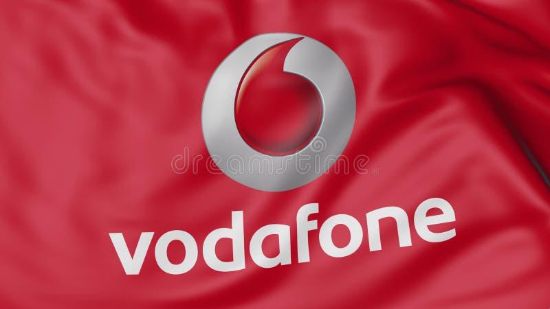 Sluit omhoog van golvende vlag met Vodafone-embleem, het 3D teruggeven vector illustratie