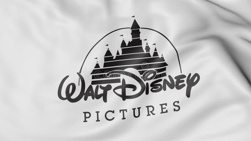 Sluit omhoog van golvende vlag met Walt Disney Pictures-embleem, het 3D teruggeven stock illustratie