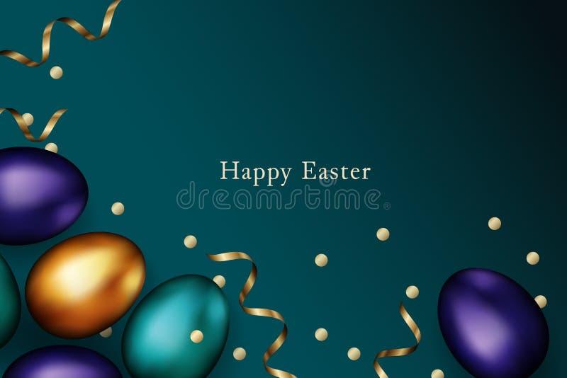 Sluit omhoog van goud en kleurenpaaseieren op donkere achtergrond De kleurrijke eieren van Pasen met gouden kronkelweg en confett stock illustratie