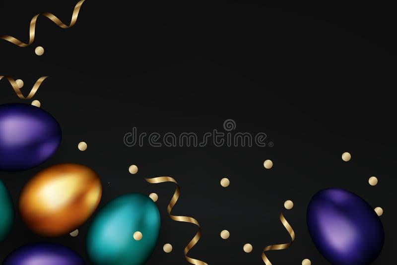 Sluit omhoog van gouden kleurenpaaseieren op zwarte achtergrond Kleurrijke de eieren gouden confettien van Pasen Pasen-ontwerp, a stock illustratie