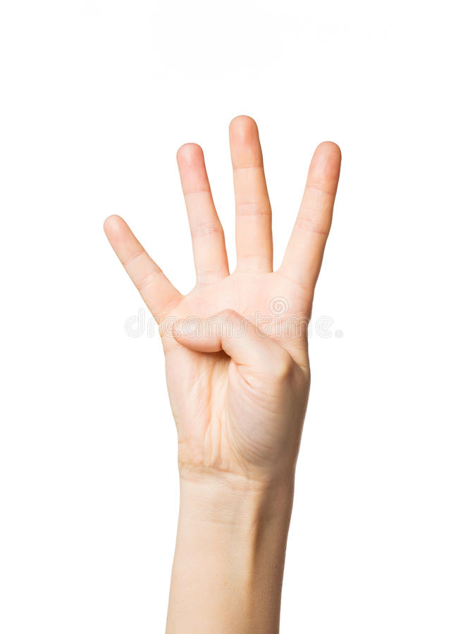 Sluit omhoog van hand die vier vingers tonen royalty-vrije stock foto's