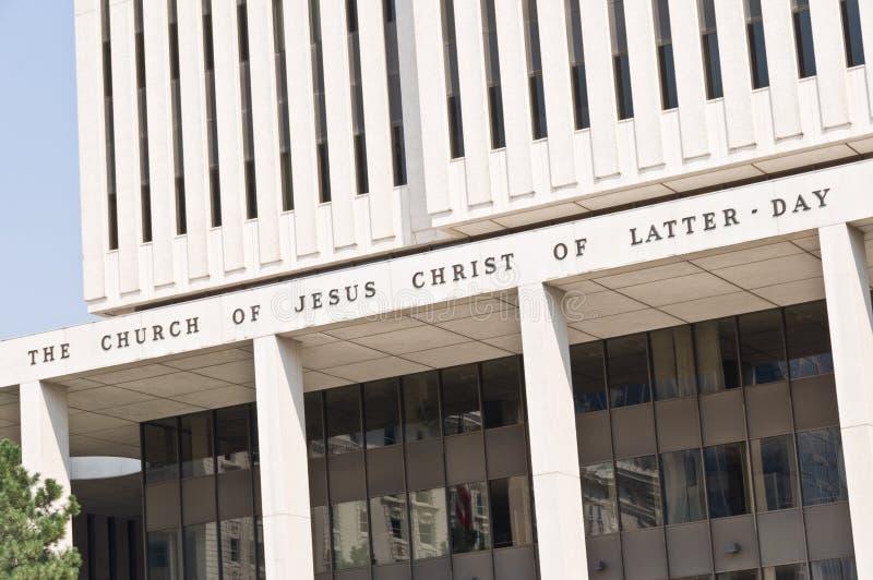 Sluit omhoog van het bureaugebouw van de kerk van Jesus-Christus van laatstgenoemde-dagheiligen, de mormoonse kerk, op Tempelvier royalty-vrije stock foto's