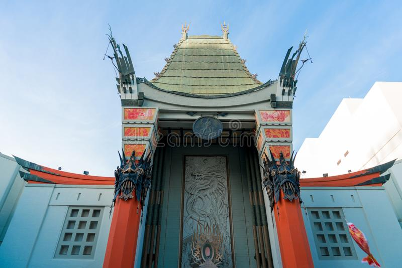 Sluit omhoog van het Chinese Theater van Grauman op Hollywood-Boulevard royalty-vrije stock afbeelding