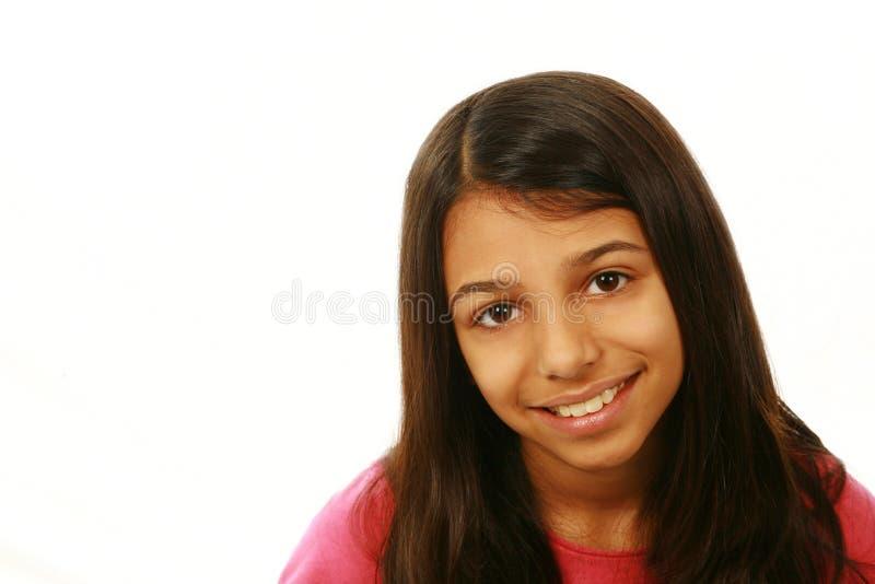 Sluit omhoog van het Indische het meisje van het Oosten glimlachen stock foto