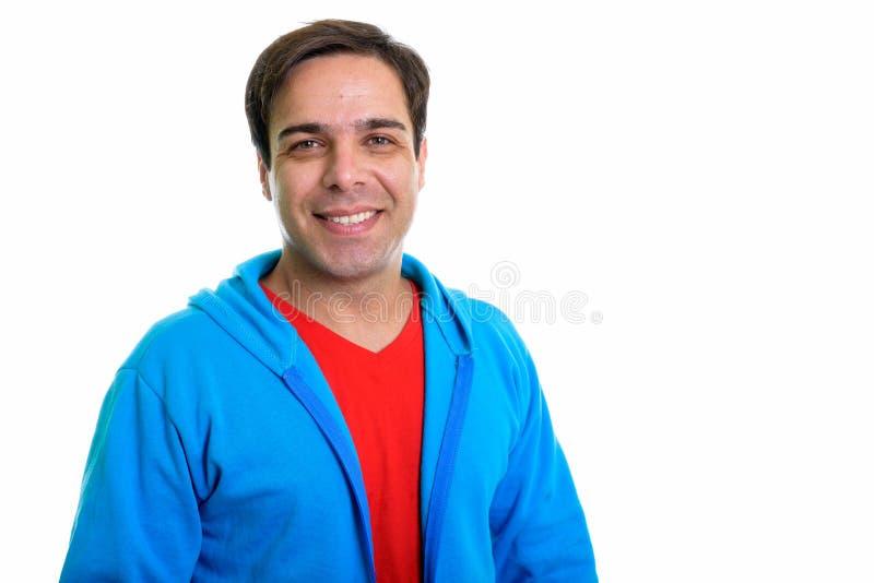 Sluit omhoog van het jonge gelukkige Perzische mens glimlachen ge?soleerd tegen whi stock foto's