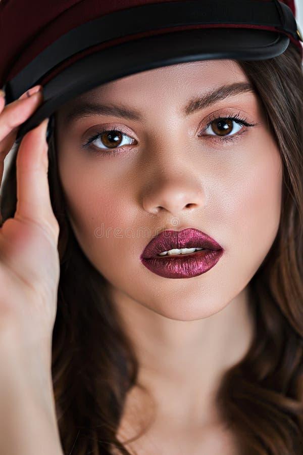 Sluit omhoog van het mooie portret van het vrouwengezicht met make-up Grote details! royalty-vrije stock afbeelding