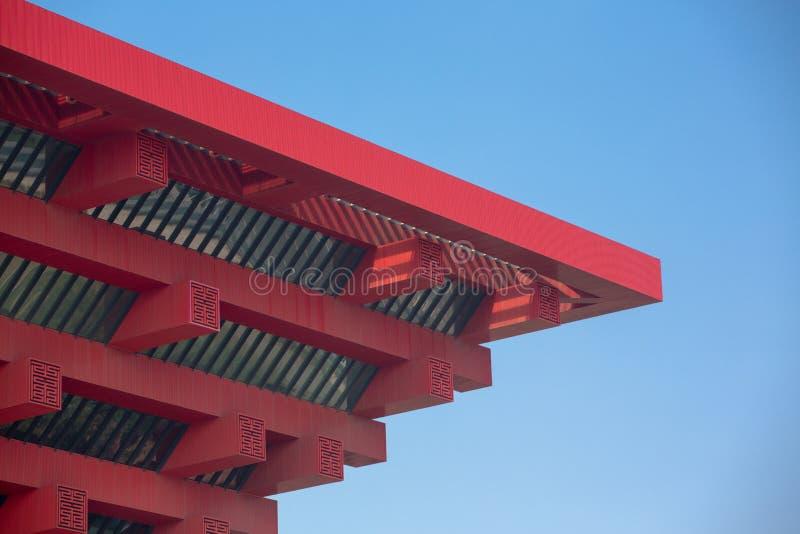 Sluit omhoog van het rode Chinese Paviljoen op de plaats van de Expo royalty-vrije stock foto's
