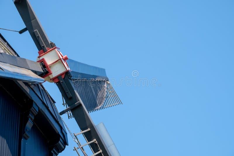 Sluit omhoog van historische windmolen in Kinderdijk, Holland, Nederland, een Unesco-Plaats van de Werelderfenis stock fotografie