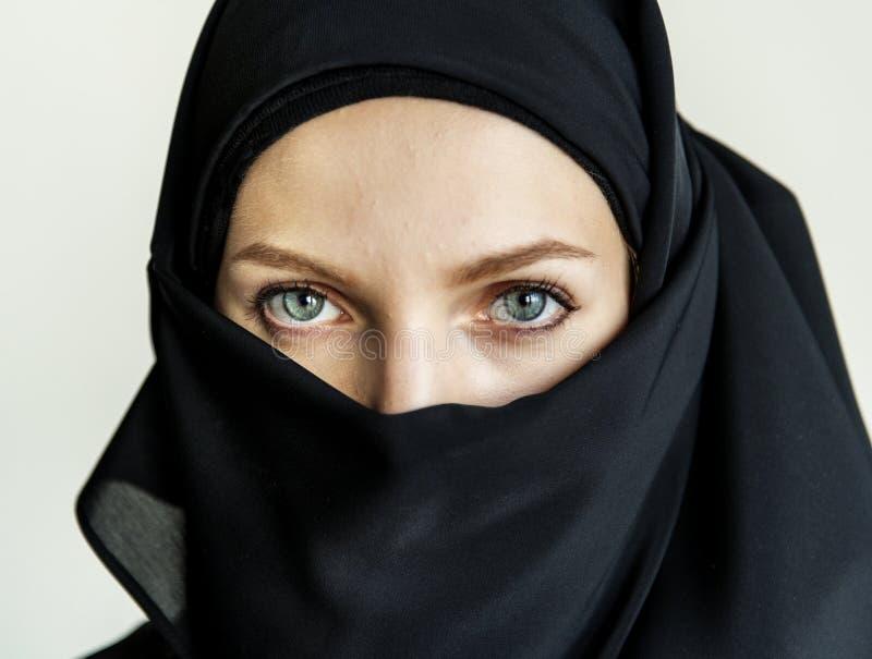 Sluit omhoog van Islamitisch vrouwenportret royalty-vrije stock fotografie