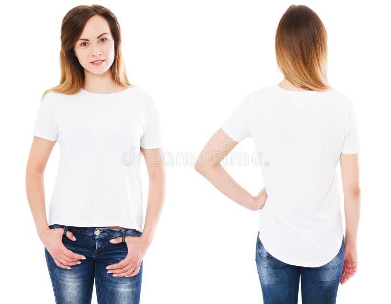 Sluit omhoog van jonge vrouw in leeg wit geïsoleerde t-shirt, overhemd, voorzijde en achtergedeelte, meisje in t-shirt stock foto's