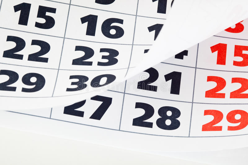Sluit omhoog van kalenderpagina stock foto