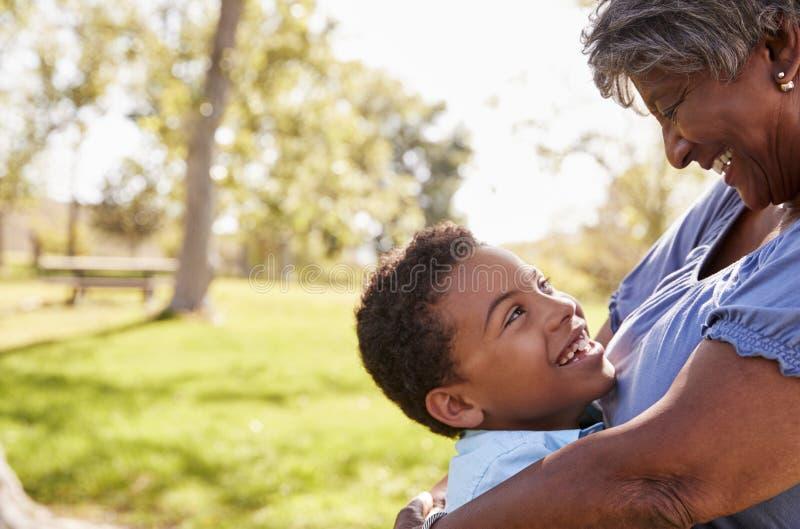 Sluit omhoog van Kleinzoon die Grootmoeder in Park koesteren royalty-vrije stock fotografie