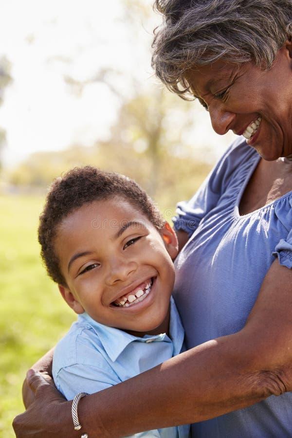 Sluit omhoog van Kleinzoon die Grootmoeder in Park koesteren stock fotografie