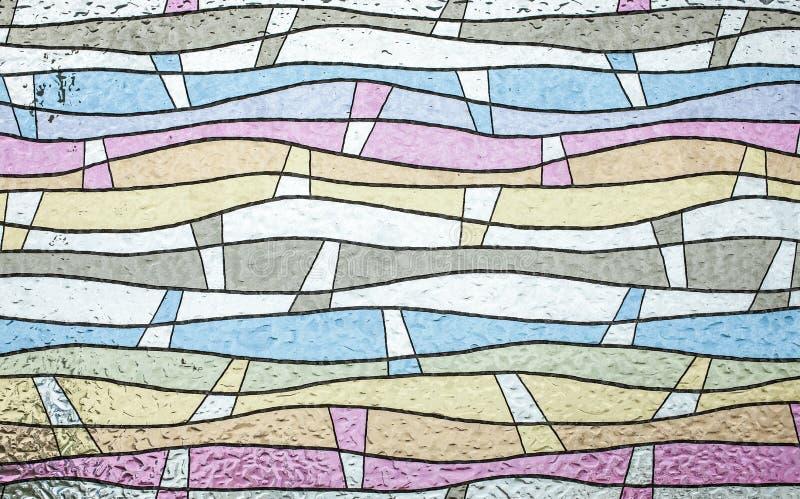 Sluit omhoog van kleurrijk gebrandschilderd glas, abstracte uitstekende achtergrond royalty-vrije stock afbeeldingen