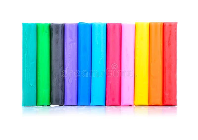 Sluit omhoog van kleurrijke playdough stock afbeeldingen