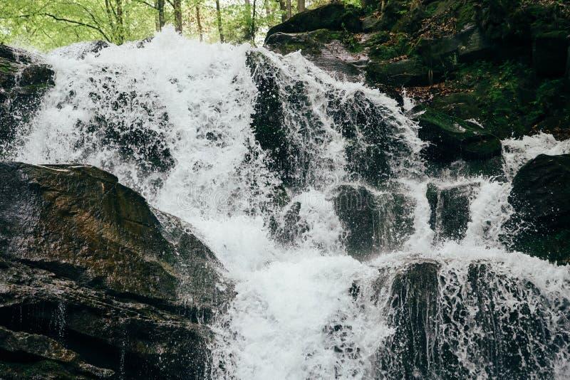 Sluit omhoog van koude verse waterval Waterval Shypit, cascade in Pylypets in de bos Karpatische Bergen, de Oekra?ne royalty-vrije stock foto