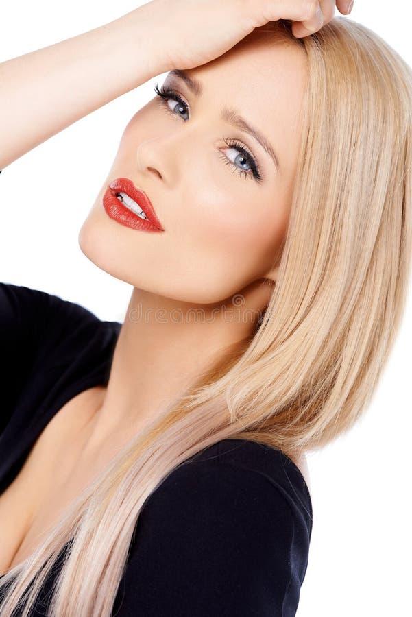 Sluit omhoog van leuke blonde sexy vrouw stock foto's