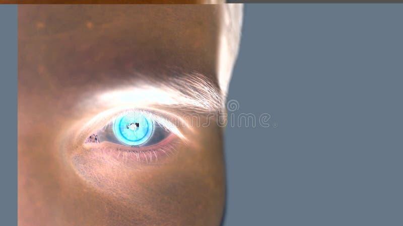 Sluit omhoog van mannelijk oog met irisaftasten op een grijze achtergrond Toekomstige technologie, identiteitserkenning en visiec royalty-vrije illustratie
