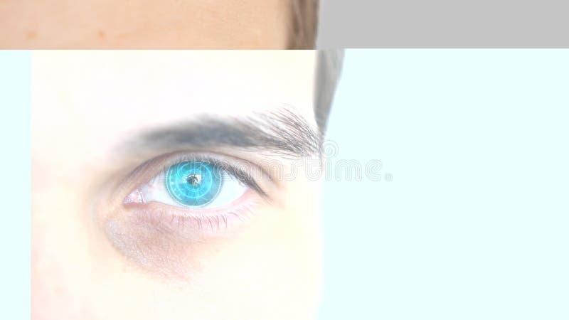 Sluit omhoog van mannelijk oog met irisaftasten op een grijze achtergrond Toekomstige technologie, identiteitserkenning en visiec royalty-vrije stock foto's