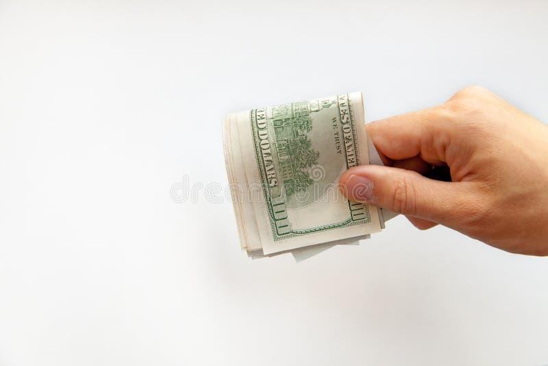 Sluit omhoog van mannelijke handen met geld stock foto
