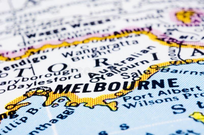 Sluit omhoog van Melbourne op kaart, Australië stock afbeeldingen