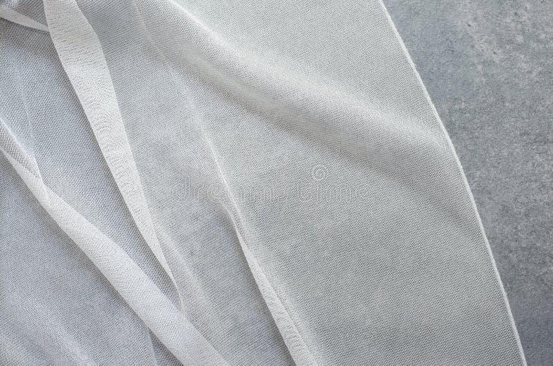 Sluit omhoog van Mooi Tulle De zuivere Steekproef van de Gordijnenstof Textuur, achtergrond, patroon Binnenlands ontwerp De Chiff stock foto's
