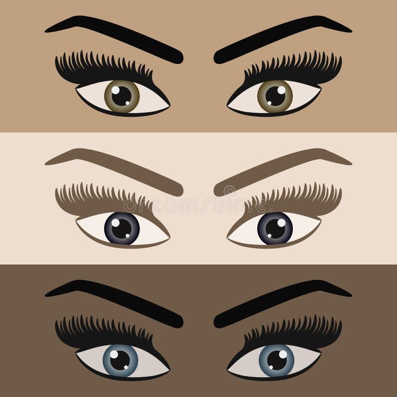 Sluit omhoog van mooie vrouwen die paar ogen met lange geplaatste zwepenpictogrammen kijken royalty-vrije illustratie