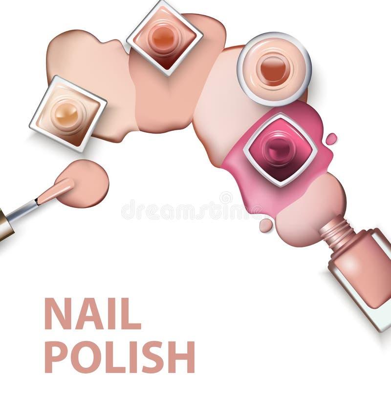 Sluit omhoog van nagellak met dalingen van nagellak lichte pastelkleuren op witte achtergrond Vector royalty-vrije illustratie